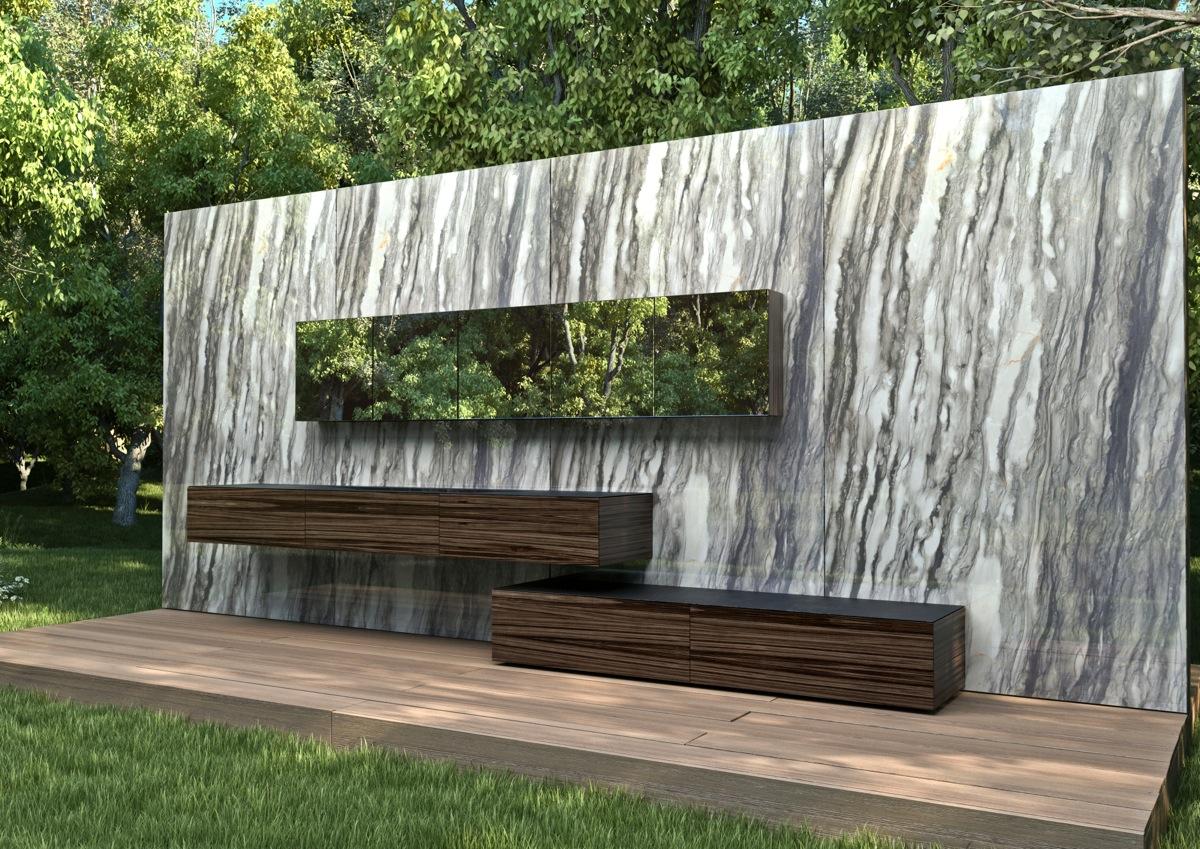 Hogares frescos elegante mueble de ba o en m rmol y - Muebles de bano minimalistas ...