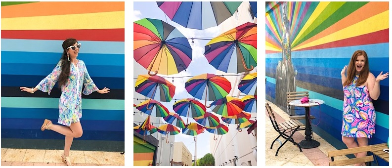 Subculture Coffee West Palm Beach Florida rainbow mural umbrellas