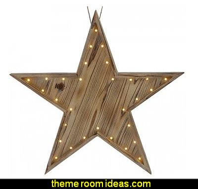 Lighted Wood Star