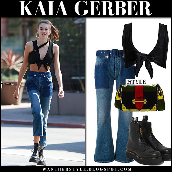 Kaia Gerber in black crop top, high rise cropped jeans and black ankle boots r13 model style october 11 2017