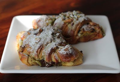 Twice-baked chocolate and pistachio croissants