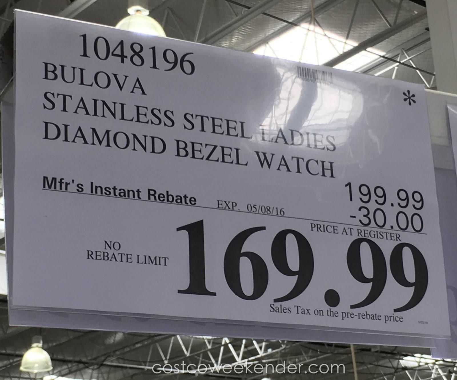 Bulova Diamonds Stainless Steel Ladies Bezel Watch Costco Weekender