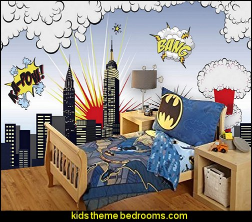 Superheroes Wall Mural Batman Bedroom Decorating Ideas Superhero Theme