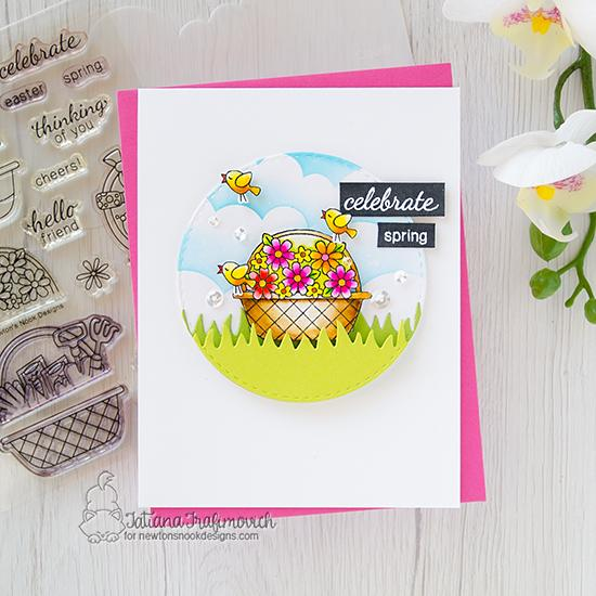 Celebrate Spring card by Tatiana Trafimovich | Basket of Wishes Stamp Set, Land Borders Die Set and Clouds Stencil by Newton's Nook Designs #newtonsnook #handmade
