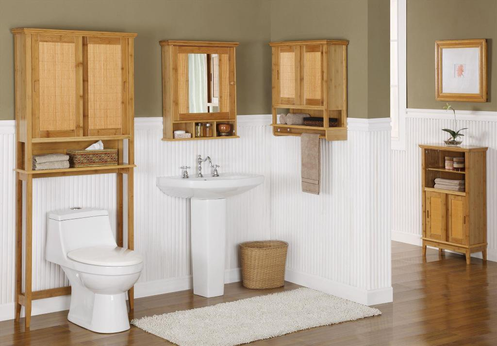Bathroom Bamboo Storage Cabinets Over Toilet Interior Design