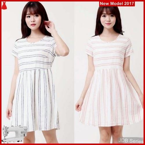 JDB100 FASHION Linen Ond Striped Dress BMGShop