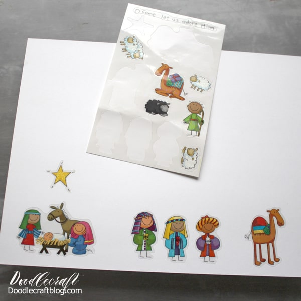 Need an easier version for this little nativity!? This one is just as cute and not nearly as much work. Stick the stickers on the bottom edge of the thick cardstock. Space out the pieces so they can be cut.