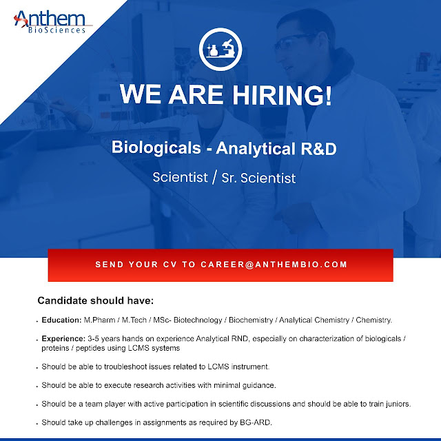 Anthem BioSciences Hiring MPharm Chemistry Analytical R and D
