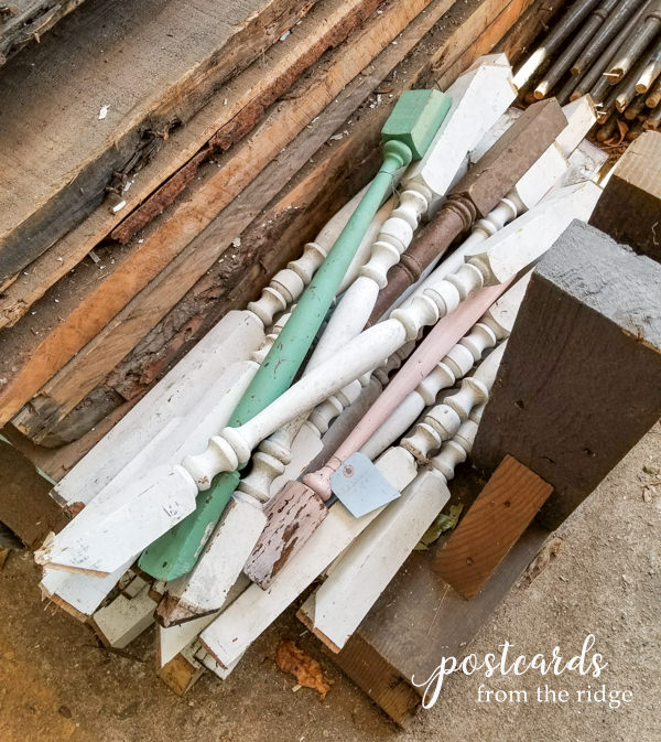 pile of salvaged antique wooden spindles