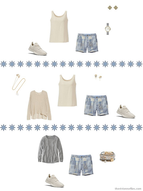 3 ways to wear patchwork shorts from a Tote Bag Travel Wardrobe