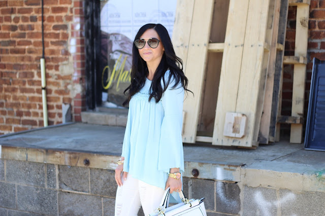Light blue embroidery blouse, white jeans, Stilettos and Diapers