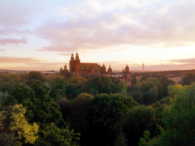 Kelvingrove Museum in Glasgow at Sunset