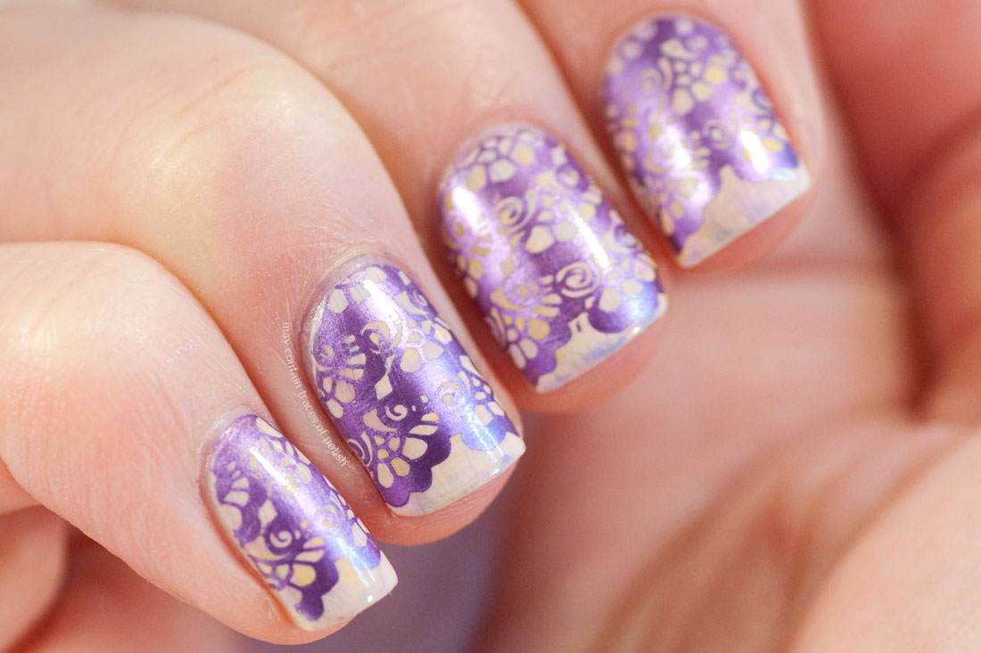 Purple Metallic Wedding Nails using MoYou Bridal 06