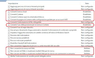 Disabilita Cortana e ricerca web in Windows 10 v1903, v1809 e v1803
