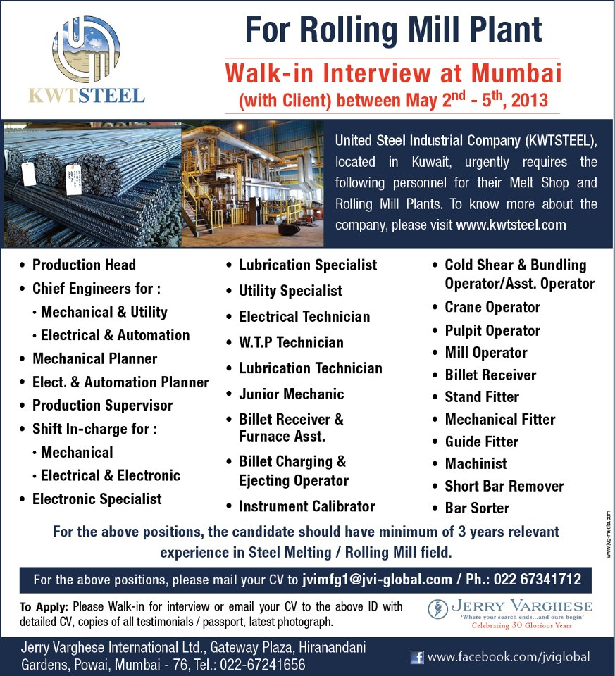 Steel industry rolling mill melt shop professionals - Kuwait airways mumbai office contact number ...
