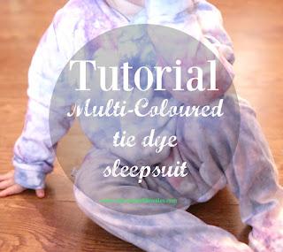 tutorial mutli-coloured tie dye sleepsuit