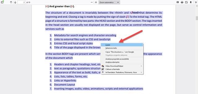 copiare testo selezionato da firefox