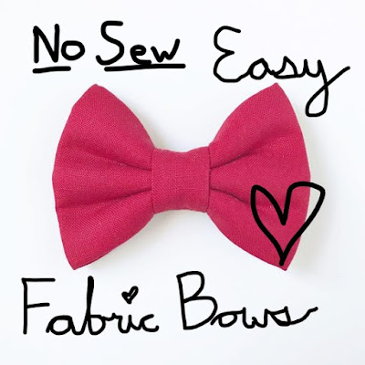A picture of a hot pink hair bow with the words No Sew Easy Fabric Bows across it