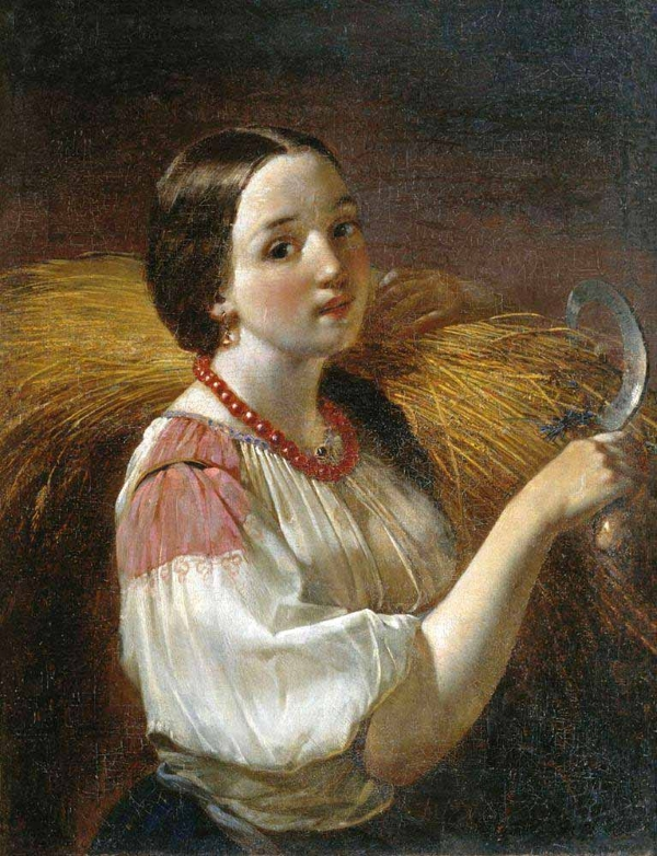 Максимов Алексей Максимович (1810-1865) Девушка со снопом www.womanpaint.blogspot.ru