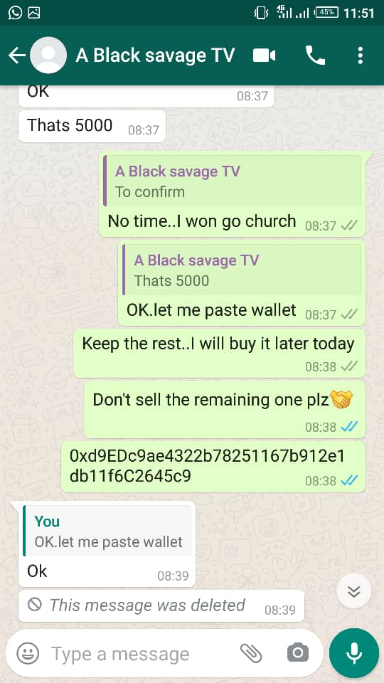Beware Of Scammers: Kadiri Immanuel (BLACK SAVAGE TV) who scam a lady on ethereum