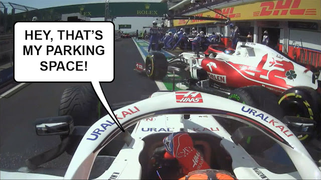"""Raikkonen driving into the path of Mazepin in the pitlane, with Mazepin saying """"Hey, that's my parking space!"""""""