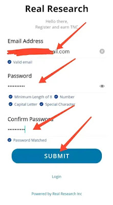 Real Research App  Account Details