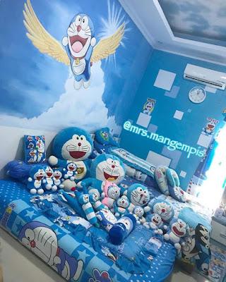 Gambar Model Kamar Tidur Doraemon Nuansa Biru