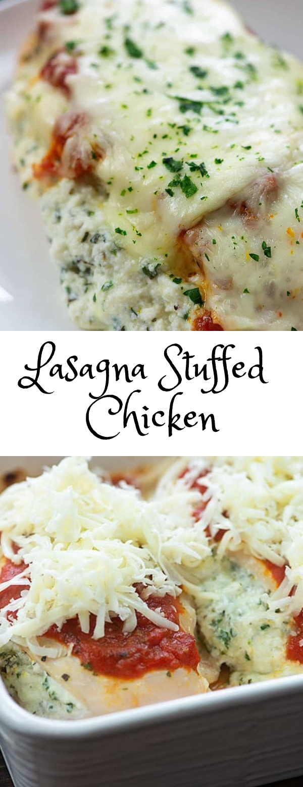 Lasagna Stuffed Chicken #chicken #lasagna #Italian #maincourse