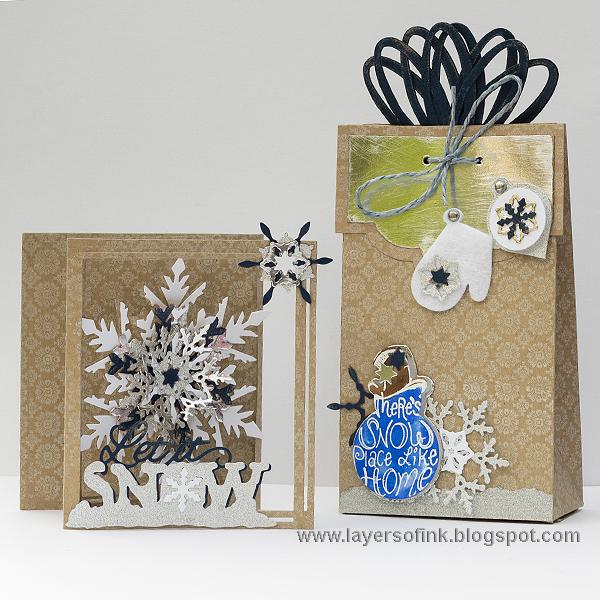 Layers of ink Snowflake Tri-Fold  Gift Bag Tutorial - tri fold card