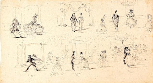 """Piirustuksessa Tanssi ennen ja nyt (Dansen Förr och nu) on kuvattu kuusi tanssiaiskohtausta, jossa kunkin alla on vuosiluku ja tanssin nimi. Tanssijat on kuvattu aikakauden muotipuvuissa. Ylärivissä """"tanssi ennen"""" Menuetten 1778, Gavotten 1804, Francoisen 1827, alarivissä """"tanssi nyt"""" Galoppen 1847, Francoisen 1847 ja Polkan 1847. Piirustus kuuluu Helsingin kaupunginmuseon kokoelmaan ja on avattu Finna.fi -palveluun lisenssillä CC BY 4.0"""