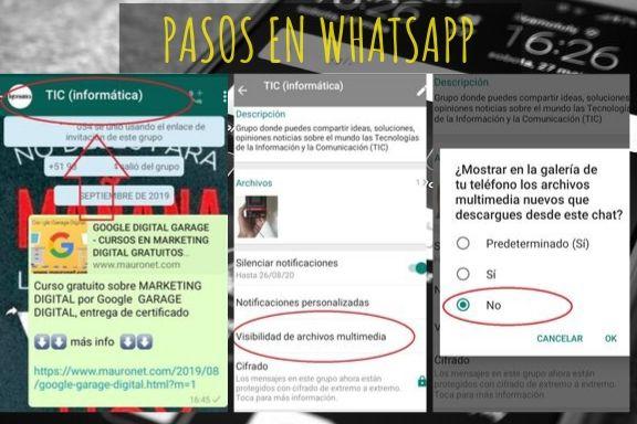cambiar configuración de whatsapp para no mostrar en la galería de tu teléfono los archivos multimedia nuevos que descargue de este chat