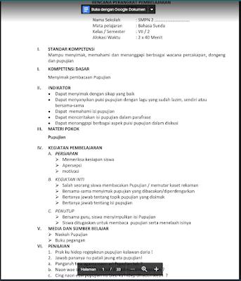 Download RPP Bahasa Sunda Kelas 7 Semester 2 Kurikulum 2013