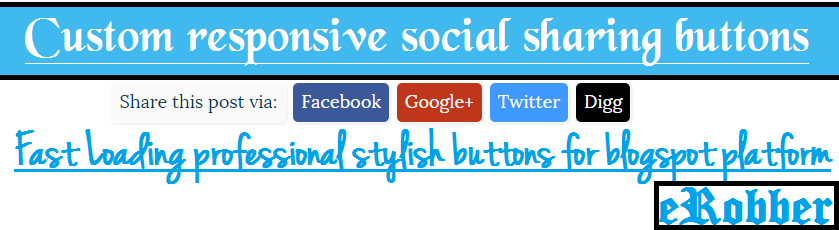 Custom responsive social sharing buttons for blogger (or) blogspot blog
