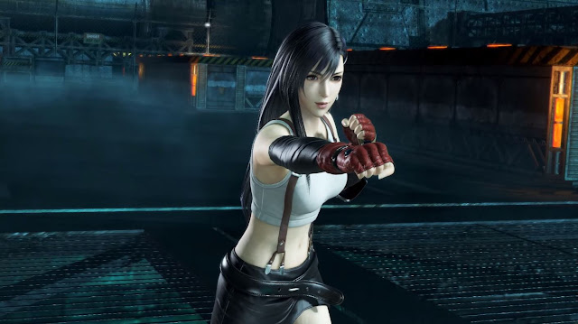 Tifa Lockhart a girl wearing white shirt and red gloves punching air preparing to fight in a hangar