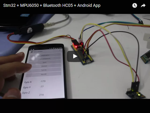 Stm32 + MPU6050 + Bluetooth HC05 + Android App