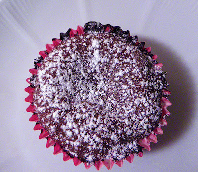 Single Chocolate Molten Lava Cupcake Aerial View