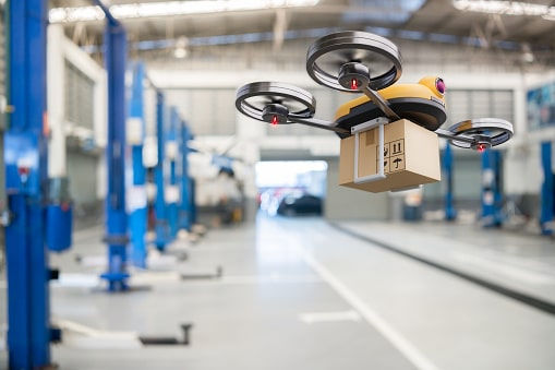 A drone robot deliver the package