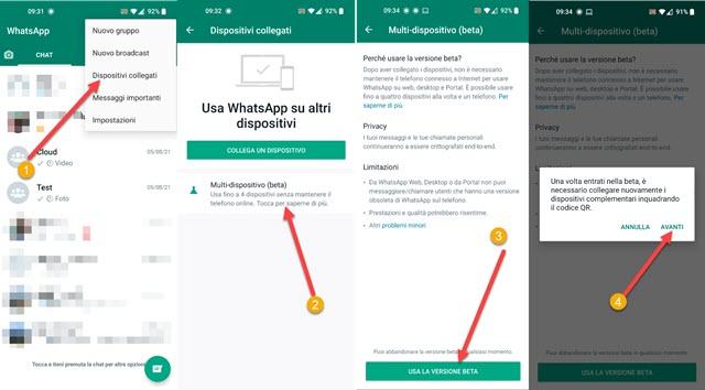 abilitare la versione ebeta di whatsapp