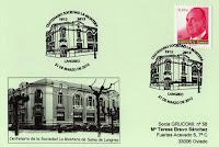 Tarjeta del matasellos del Centenario de la Sociedad La Montera de Sama de Langreo