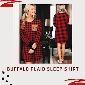 monogrammed buffalo plaid sleep shirt