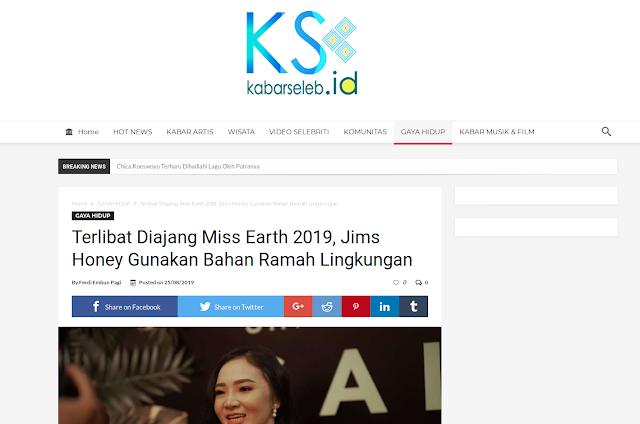 Terlibat di Ajang Miss Earth 2019, Jims Honey Gunakan Bahan Ramah Lingkungan