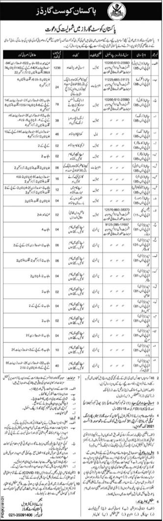 Pakistan Coast Guard PCG Karachi Jobs 2021   1546 Posts