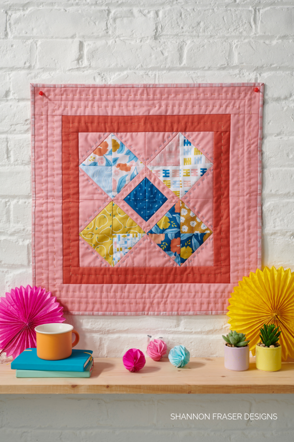 Harvest Falls Mini Quilt | Q4 Finish-a-Long List of Projects | Shannon Fraser Designs #miniquilt #wallhanging #wallart #handquilted