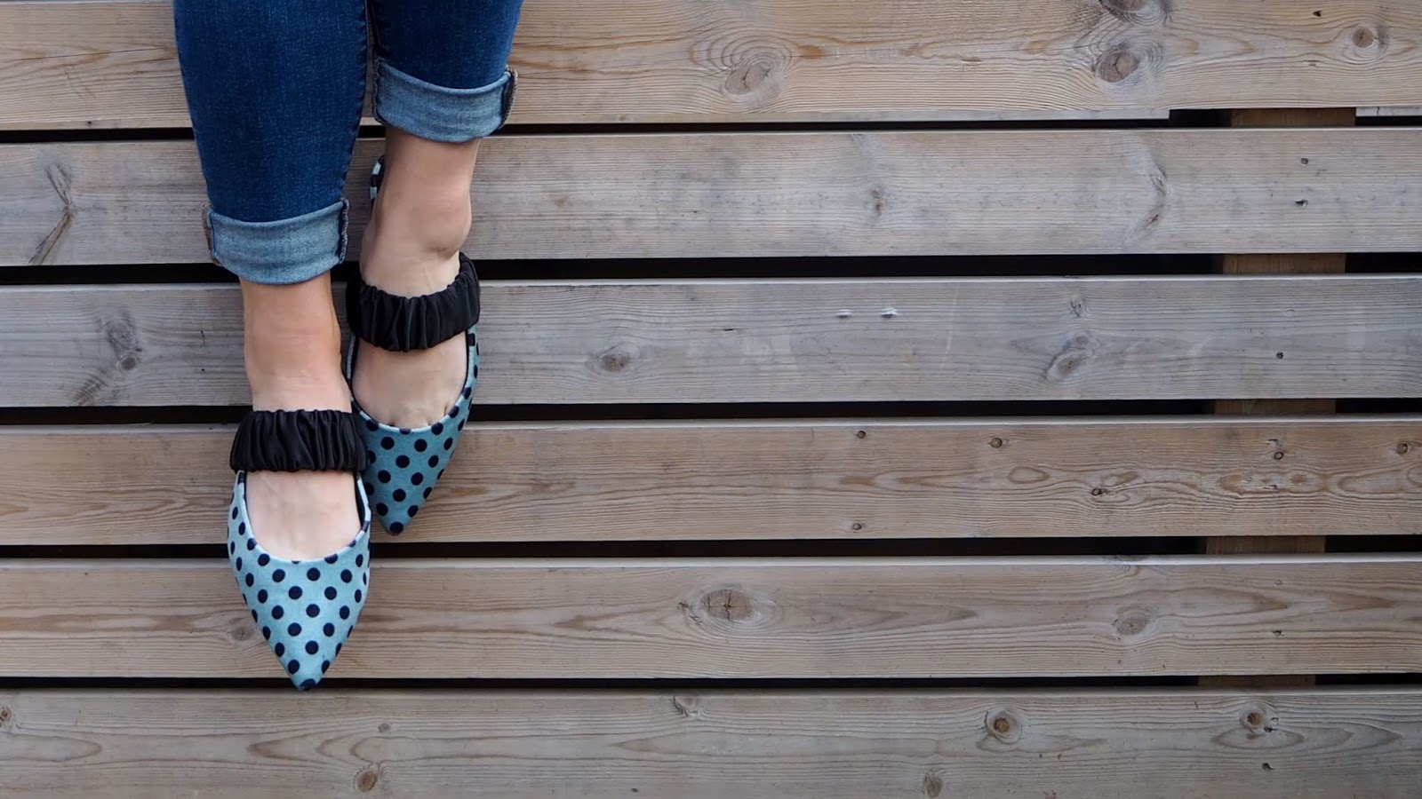 mint green & black polka dot pointed toe mules