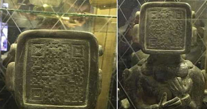 Strange Ancient Mayan Statue with Flat Face and QR Code – Scanned? Aliens Warned Us All Along?