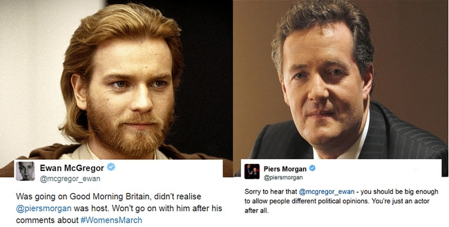 Ewan McGregor will not appear on Good Morning Britain show over Piers Morgan's Women's March comments