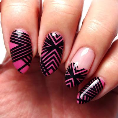 Pink Geometric Nail Art
