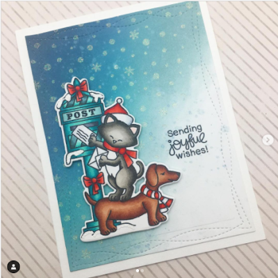 Sending joyful wishes by Claire L. features Holiday Posts by Newton's Nook Designs; #newtonsnook; #cardmaking, #christmas