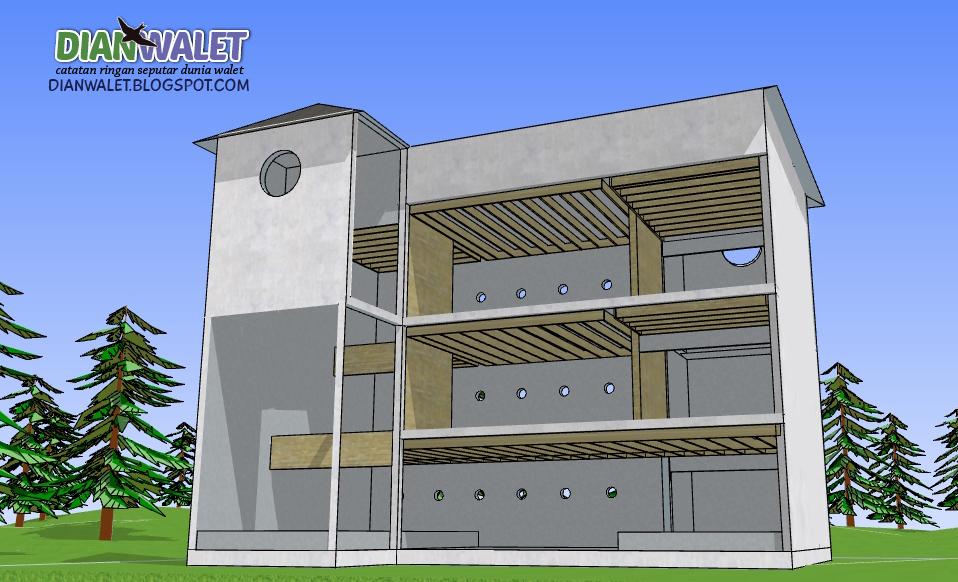 Desain Gedung Walet RBW 4X7 3 Lantai dan 2 Rumah Monyet