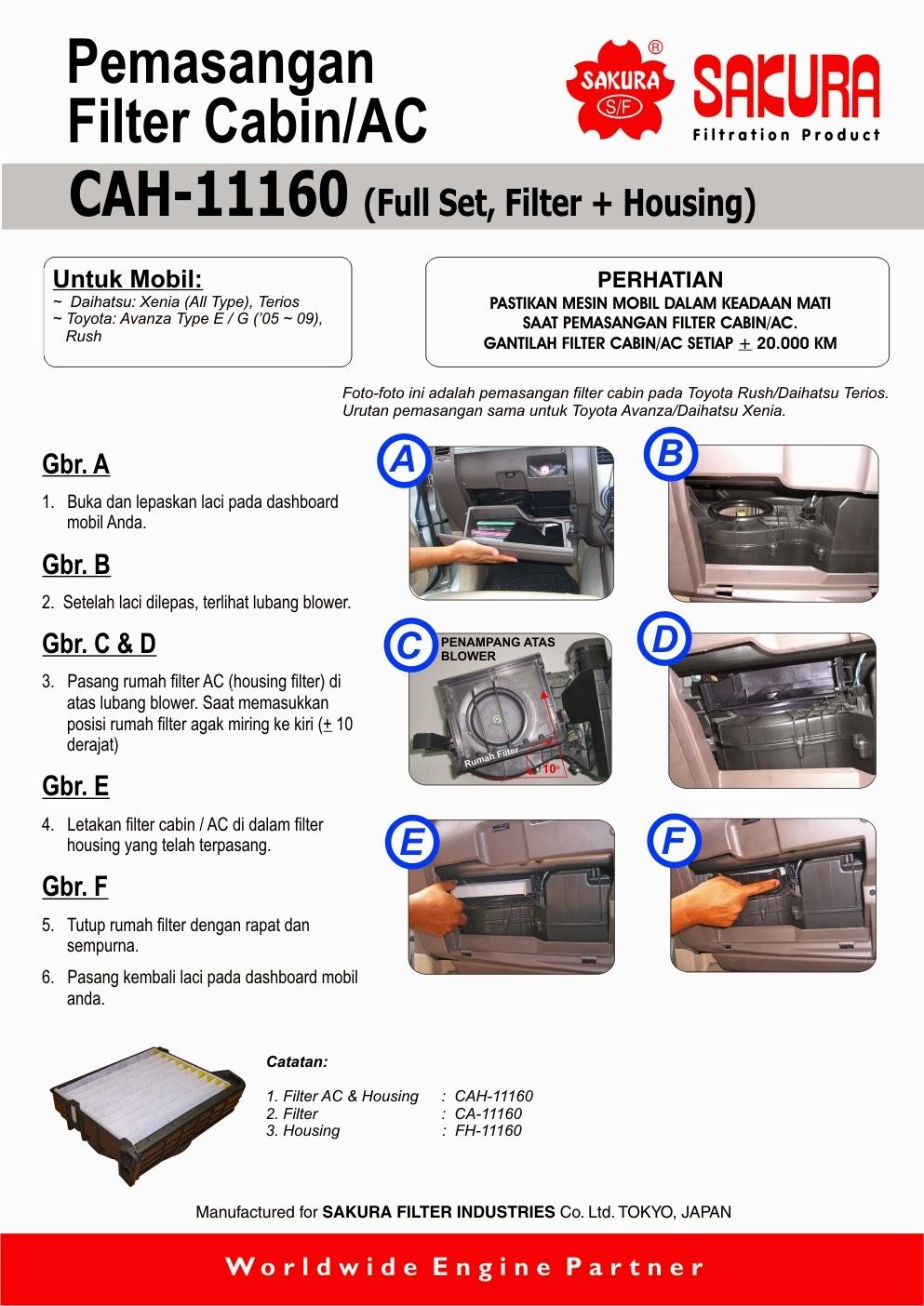 Service Ac Mobil Daihatsu Xenia Pasang Housing Filter